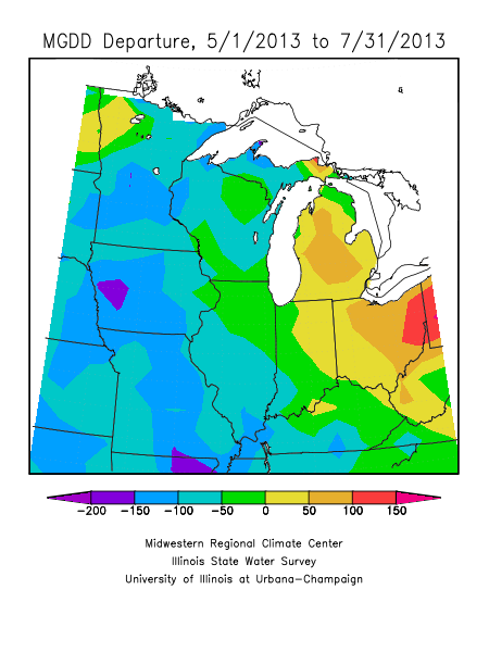 departure from normal for gdd aculation from 1 may 2013 through 31 july 2013 in the heart of the u s corn belt