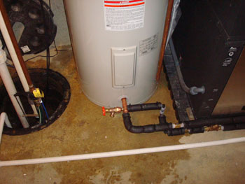 Geothermal hot water heater hook up